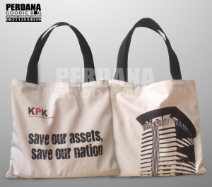 Tas Goodie Bag Bahan Drill Sablon 2 Warna KPK Jakarta Selatan