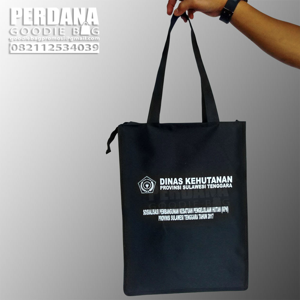 Q2908 souvenir tas D300 dengan zipper Dinas Kehutanan