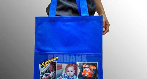 tas goodie bag ultah anak spunbond kombinasi printing Q3257