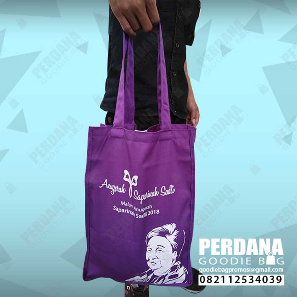 totebag drill ungu souvenir saparinah by Perdana Goodie Bag