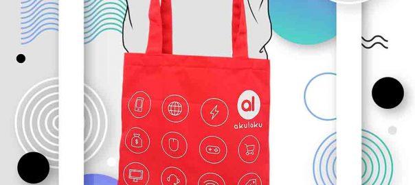 harga goodie bag promosi bahan katun warna merah di Bekasi id4374