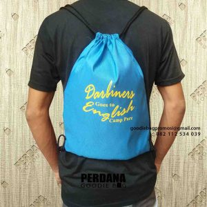 contoh tas serut ransel anti air custom by Perdana Goodie Bag id6345